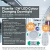 Plusrite 13W LED Colour Changing Downlight Dimmable 3000K to 5000K