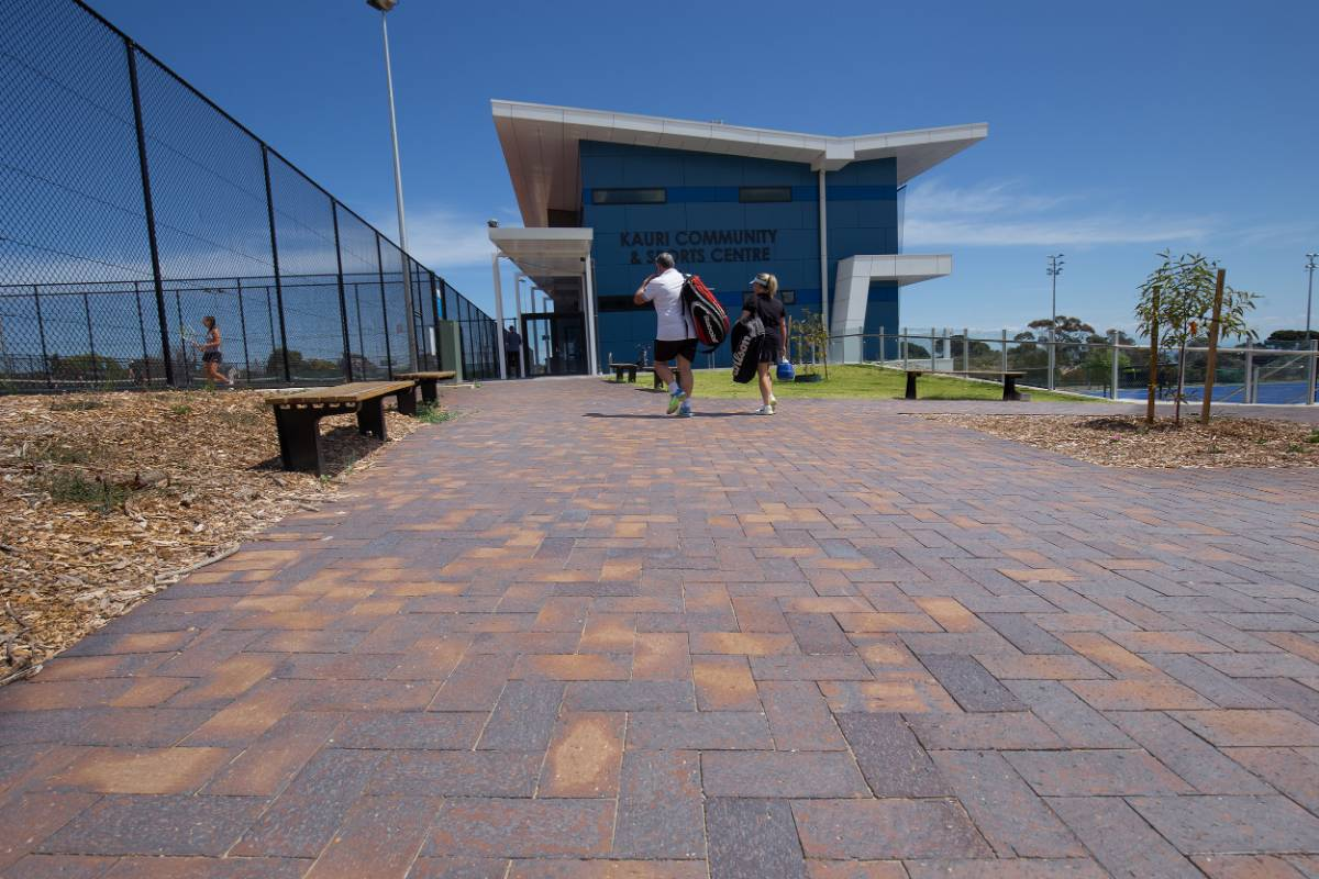 View Photo: Mahogany Pavers at Glenelg District Tennis Club Entrance