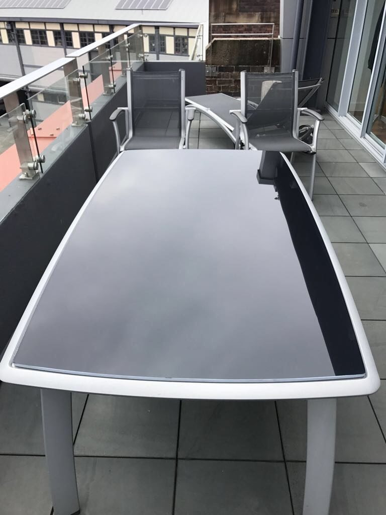 View Photo: 10mm Grey Back Painted Toughened Glass with Curved Edges