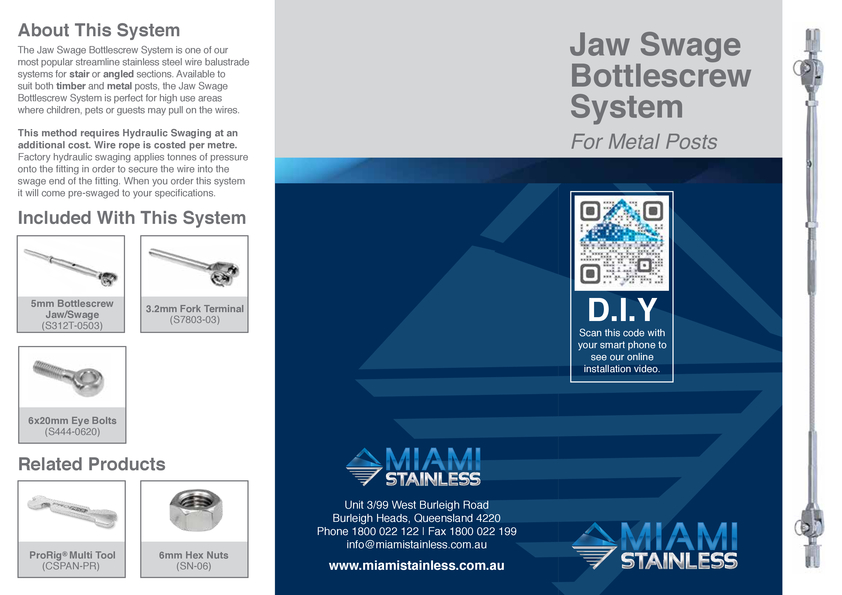 View Brochure: Jaw Swage Bottlescrew Metal System Instruction Sheet