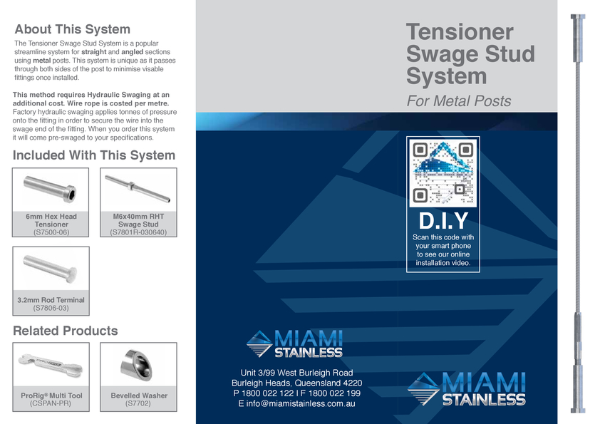 View Brochure: Tensioner Swage Stud Timber System Instruction Sheet