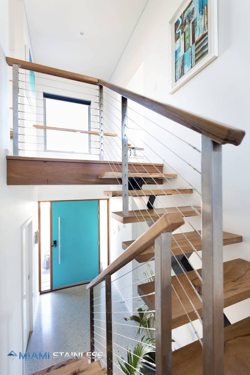 Timber and wire staircase Photo : Miami Stainless Sydney NSW