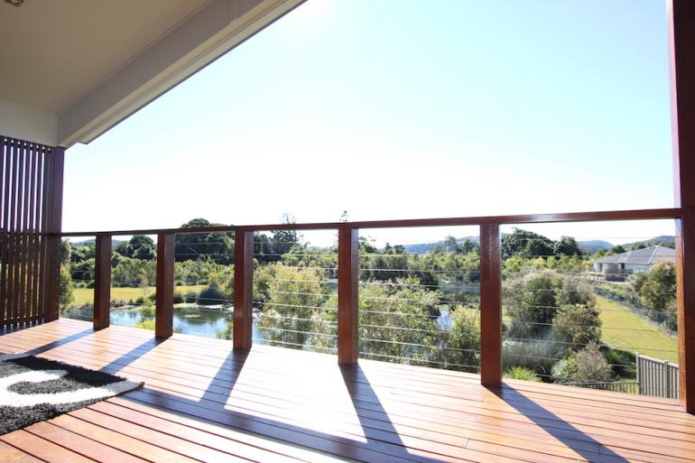 Timber deck and wire balustrade