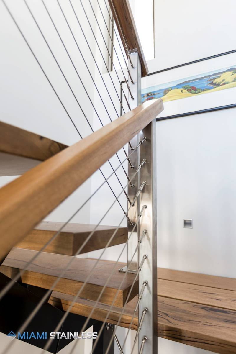 Timber handrail on wire balustrade