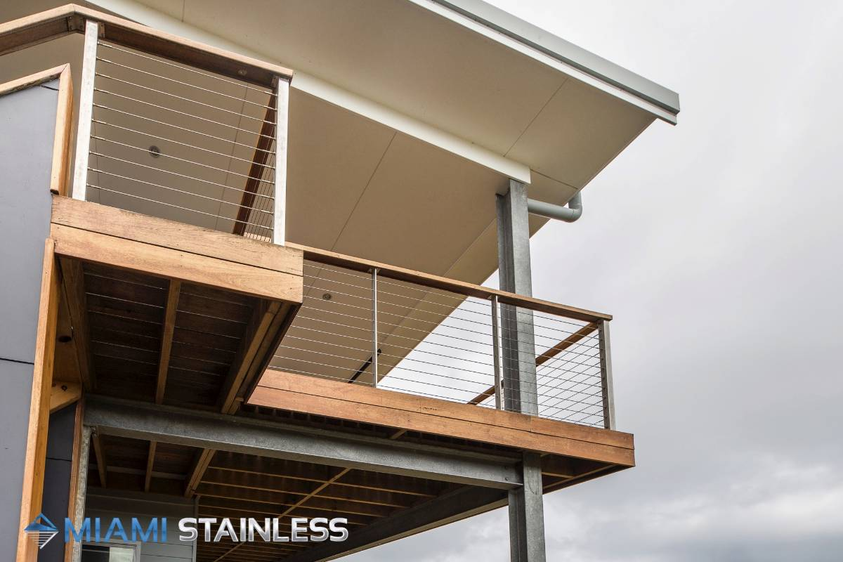 Wire, posts and timber balcony