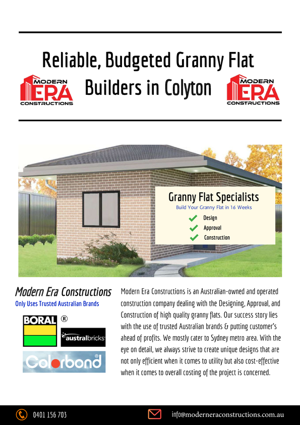 View Brochure: Reliable Budgeted Granny Flat Builders in Sydney