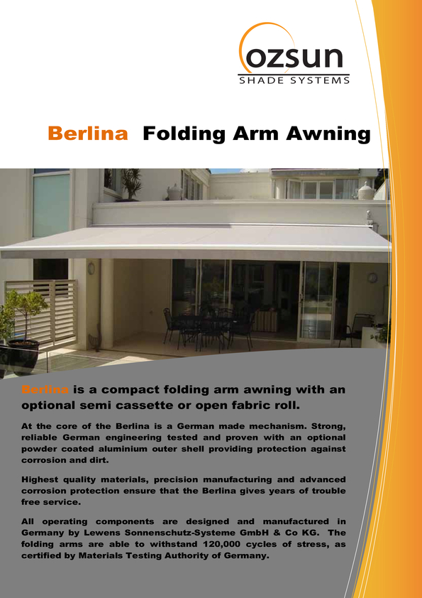 View Brochure: Berlina folding Arm Awning
