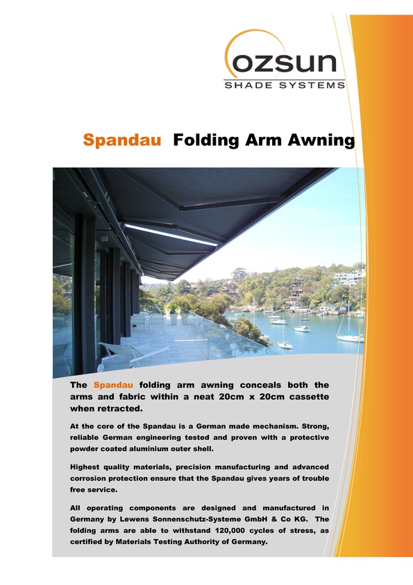 View Brochure: Spandau Folding Arm Awning