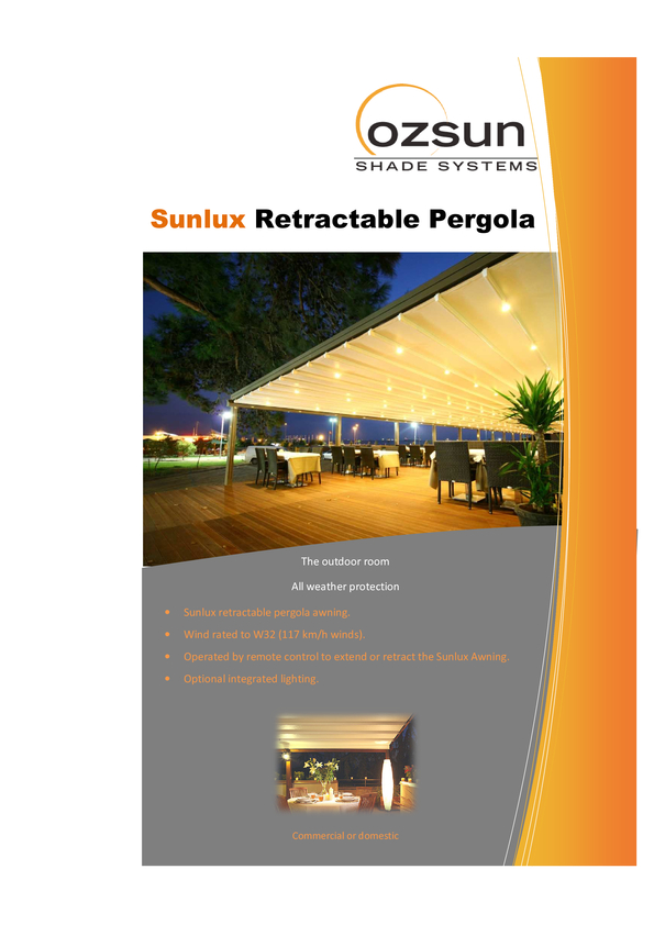 View Brochure: Sunlux Retractable Pergola