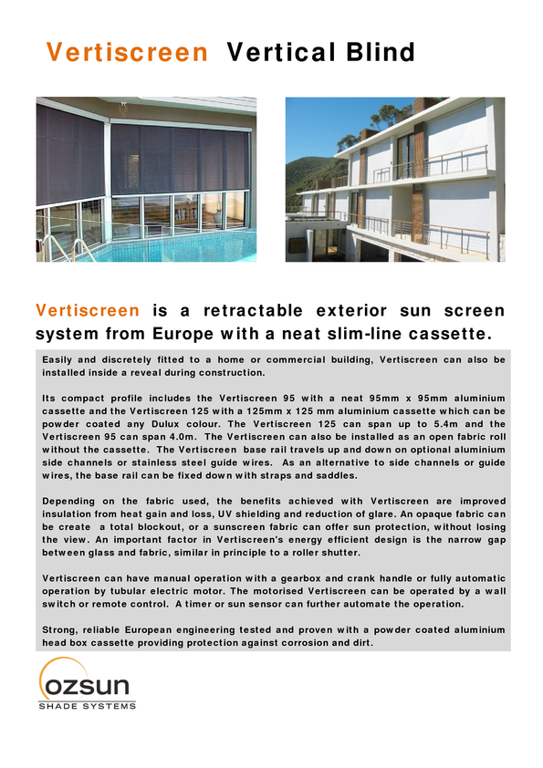 View Brochure: Vertiscreen