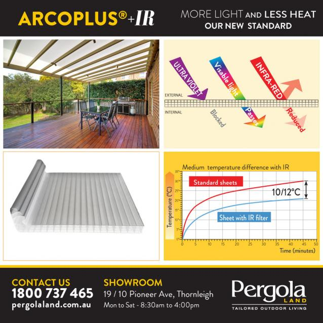 Read Article: Pergola Land offering arcoPlus®IR on Patio covers, Pergolas and Verandahs