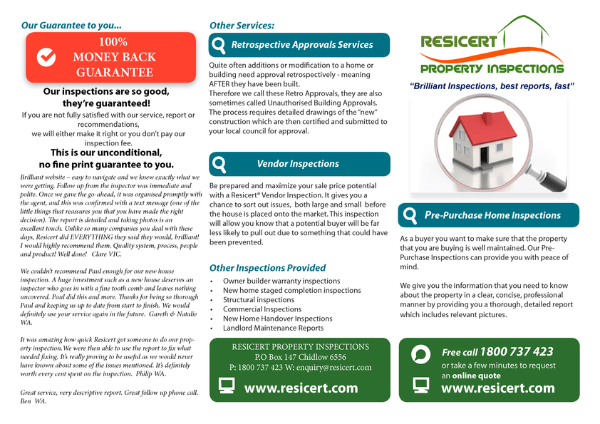 View Brochure: Resicert Property Inspections - Our Services