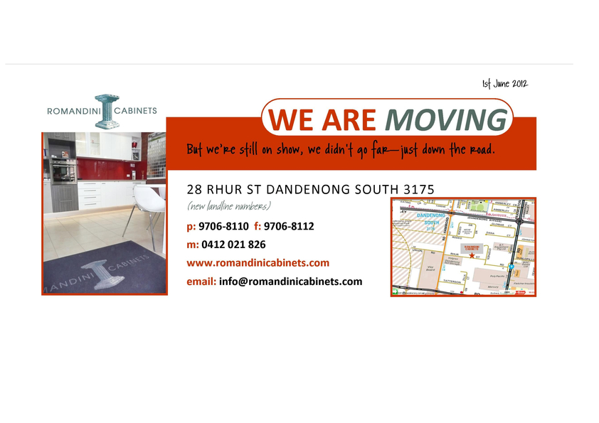 View Brochure: Romandini Cabinets have moved!