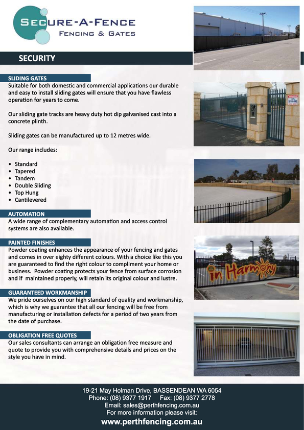 View Brochure: Flyer - Commercial Fencing (Reverse Side)