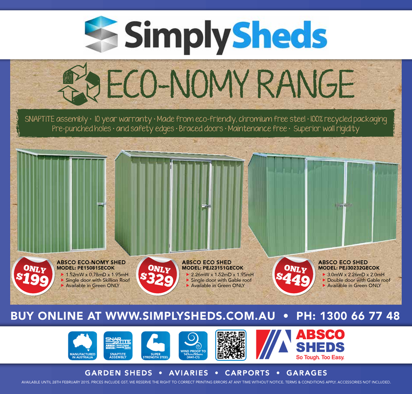 Browse Brochure: ABSCO Sheds at SimplySheds.com.au
