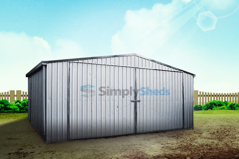 View Photo: ABSCO Zincalume Double Barn Door Garage - Compact and Versatile