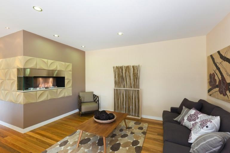 View Photo: Modern Fireplace Setting and Timber Flooring