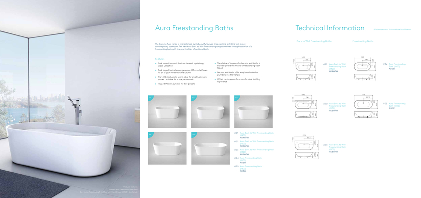 View Brochure: Caroma Aura Bath Collection