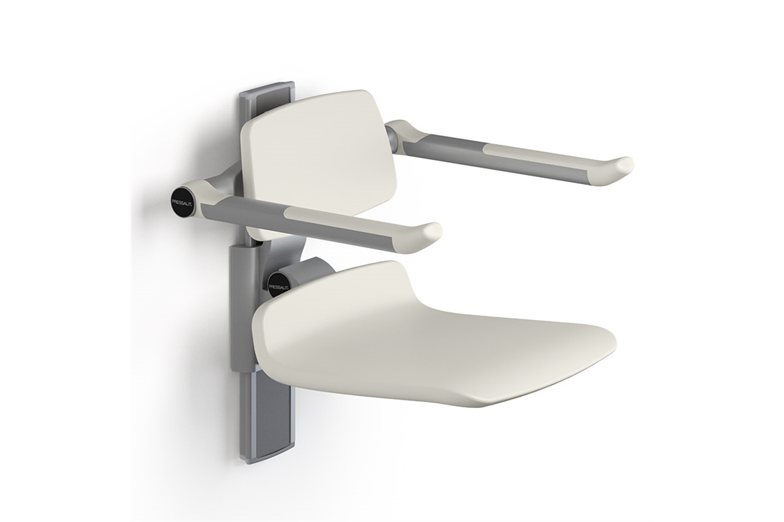 Enware Pressalit Care Plus 450 Shower Seat with Backrest and Folding Arms - Manually Height Adjustable
