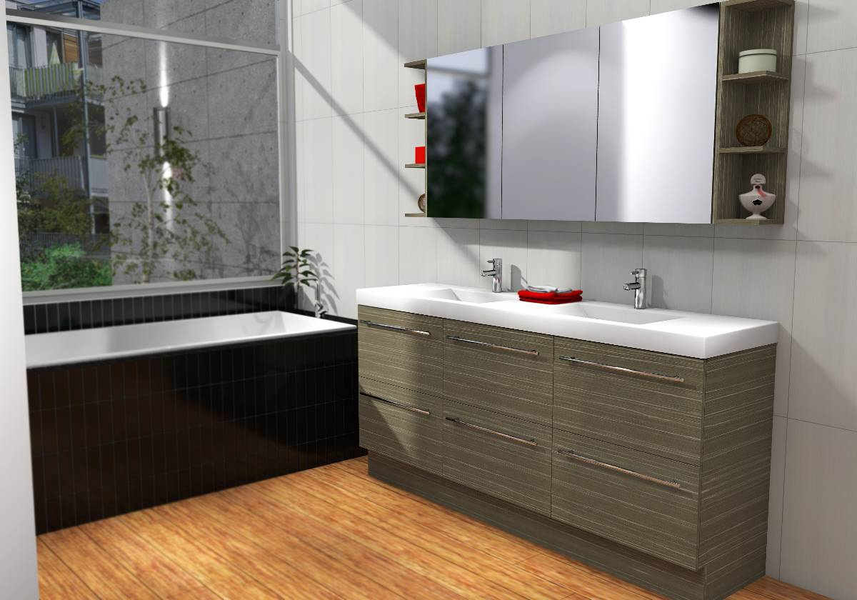 Timberline orlando 1800mm double bowl floor photo tuck for Bathroom cabinets 1800mm