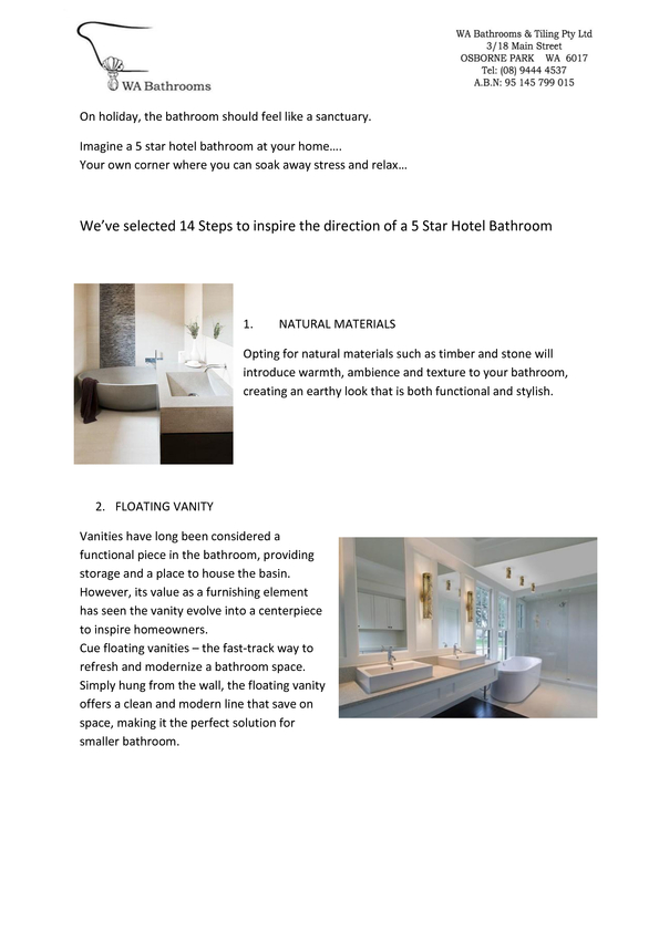 Browse Brochure: 14 Steps To A 5 Star Hotel Bathroom