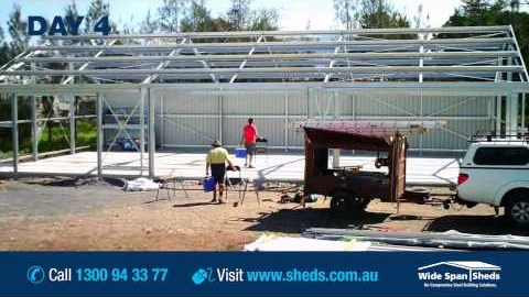 Watch Video : Wide Span Sheds Construction Timelapse